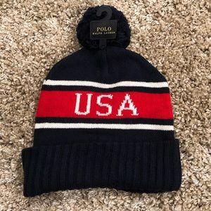 🆕 Polo Ralph Lauren USA Pom Pom hat